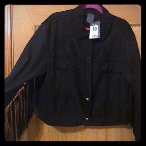 Jackets & Blazers - Plus Size Cropped Faux Suede Jacket with Fringe